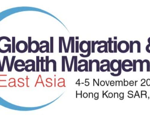 殷大為律師在香港舉辦的全球移民和財富管理東亞年度會議上發表演說